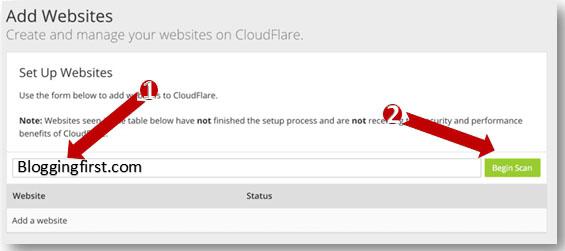 Cloudflare Add Website