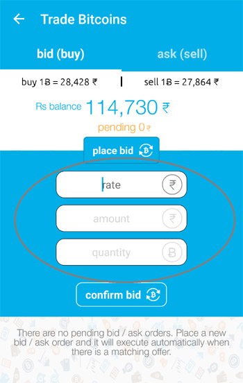 bidding option on zebpay