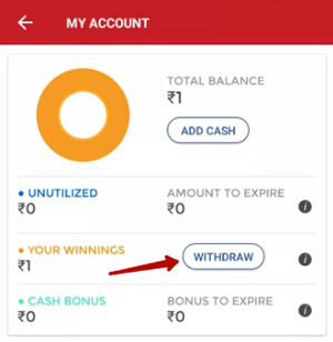 dream11 se money withdraw kare